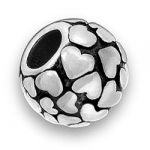 Pewter Round Bead With Hearts Image