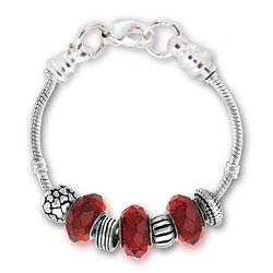 January Garnet Silver Tone Charm Bracelet