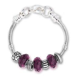 February Amethyst Silver Tone Charm Bracelet