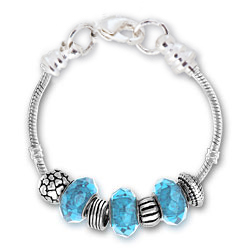 March Aquamarine Silver Tone Charm Bracelet