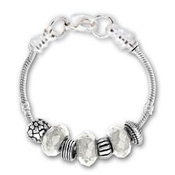 April Clear Glass Silver Tone Charm Bracelet