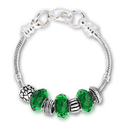 May Emerald Silver Tone Charm Bracelet
