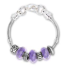 June Alexandrite Silver Tone Charm Bracelet