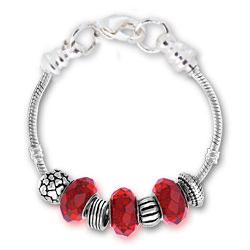 July Ruby Silver Tone Charm Bracelet