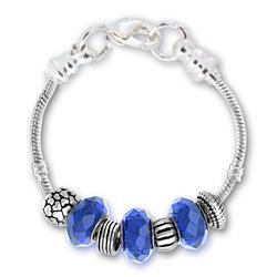 September Sapphire Silver Tone Charm Bracelet