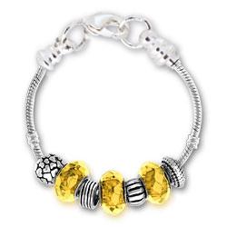 November Citrine Silver Tone Charm Bracelet