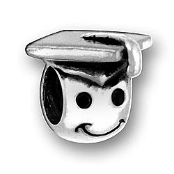 Pewter Smiley Face Graduate Bead Image