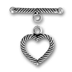 Pewter Twist Heart Toggle And Bar Image