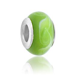 Green Swirl Lampwork Glass Bead Image