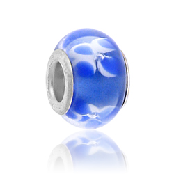 White And Blue Lampwork Glass Bead Image