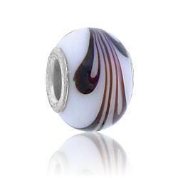 White Swirl Lampwork Glass Bead Image
