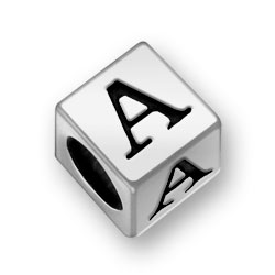 Pewter 7mm Alphabet Letter A Bead Image