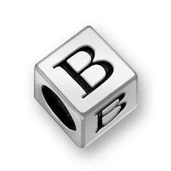 Pewter 7mm Alphabet Letter B Bead Image