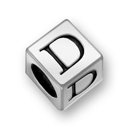 Pewter 7mm Alphabet Letter D Bead Image