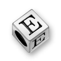 Pewter 7mm Alphabet Letter E Bead Image