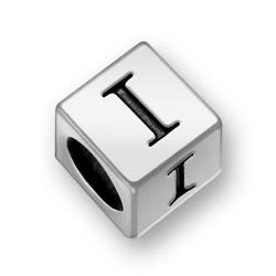 Pewter 7mm Alphabet Letter I Bead Image