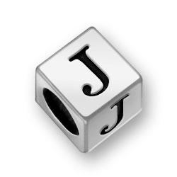 Pewter 7mm Alphabet Letter J Bead Image