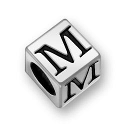 Pewter 7mm Alphabet Letter M Bead Image