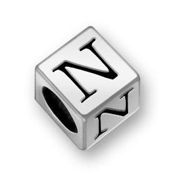 Pewter 7mm Alphabet Letter N Bead Image