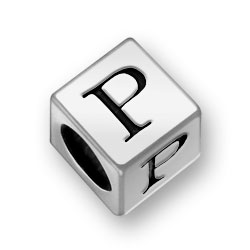 Pewter 7mm Alphabet Letter P Bead Image