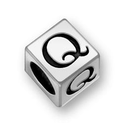 Pewter 7mm Alphabet Letter Q Bead Image