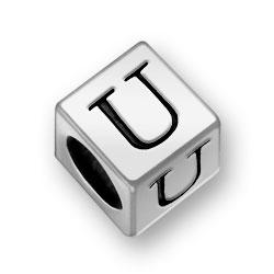 Pewter 7mm Alphabet Letter U Bead Image