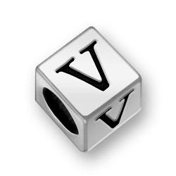 Pewter 7mm Alphabet Letter V Bead Image