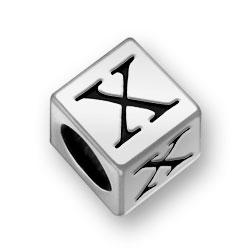 Pewter 7mm Alphabet Letter X Bead Image