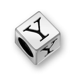 Pewter 7mm Alphabet Letter Y Bead Image