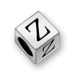 Pewter 7mm Alphabet Letter Z Bead Image