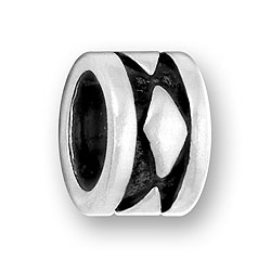 Pewter Diamond Design Bead Image