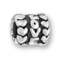 Pewter Love Heart Bead Image