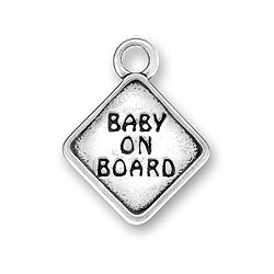 Pewter Baby On Board Charm Image