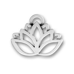 Pewter Lotus Flower Charm Image