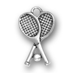 Pewter Tennis Rackets Charm Image