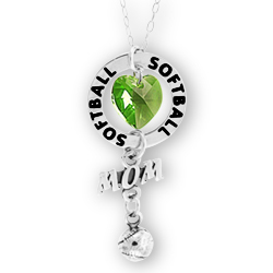 Softball Mom Affirmation Ring Necklace Image