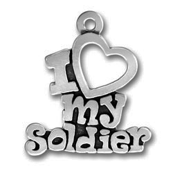 Pewter I Love My Soldier Charm Image