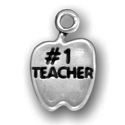 Pewter Number One Teacher Apple Charm Image