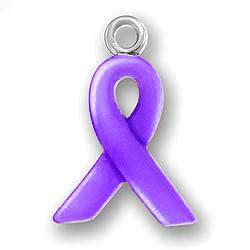 Purple Enamel Ribbon Charm Image