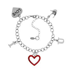 Silver Tone I Heart You Bracelet Image