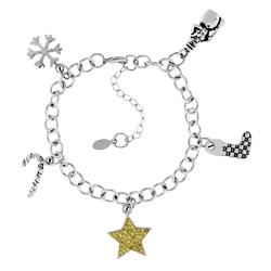 Silver Tone Christmas Bracelet Wcrystal Star Image