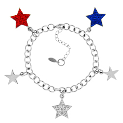 Silver Tone Red White And Blue Star Bracelet Image