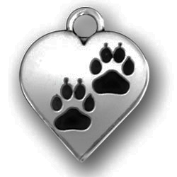 Pewter Heart With Paw Prints Image