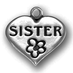 Pewter Heart With Sister Image