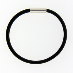 Rubber Bracelet Wsterling Silver Magnetic Closure 75 Image