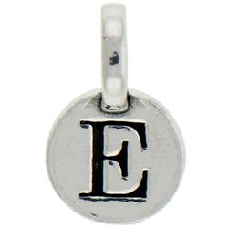 Round Pewter E Charm Image