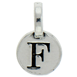 Round Pewter F Charm Image