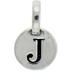 Round Pewter J Charm Image