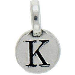 Round Pewter K Charm Image