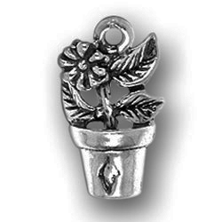 Pewter Flower In Pot Charm Image